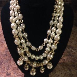 Chico's Winter Pearl Resin Multi Strand Necklace